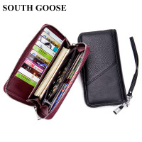 SOUTH GOOSE Genuine Leather Men Clutch Wallets RFID Zipper Male Business Long Purses Women Wristband Wallet With Passport Holder