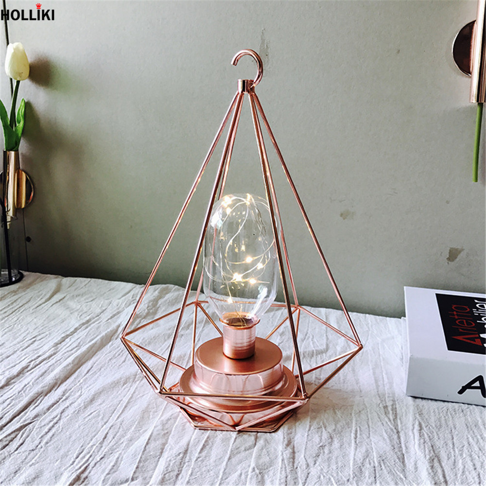 LED European Rose Gold Desk Table Lamp Scandinavia Chic Geometry Photo Props Night Light Lamp for Home Decor Luminaria De Mesa avengers hulk led night light 3d lamp luminaria de mesa lighting toy kids room led usb electronic gadget home decor bed light