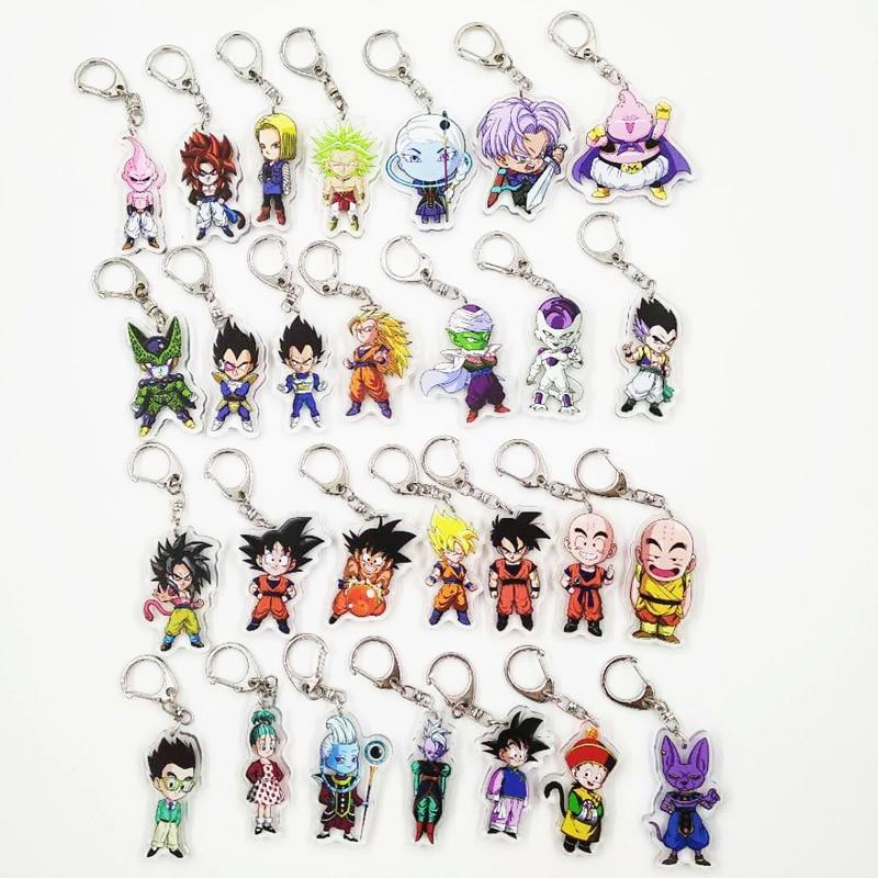 Dragon Ball Super Dolls Acrylic Toys Keychain DRAGONBALL Z Saiyan Son Goku Kakarotto Vegeta Trunks Majin Buu Majin Buu Model Toy