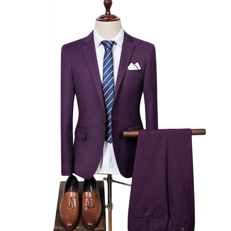 Mens Suit 2019 Slim Fit Men Wedding Coat Pants Formal Wear Luxury Purple Suits For Men Blue Black Gray Red Q320