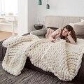 Модное одеяло крупной ручной вязки, плотная пряжа, шерсть, полиэстер, громоздкие вязаные одеяла, зимние мягкие теплые пледы, Прямая поставка