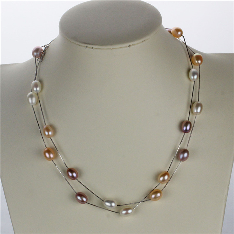 SNH new 90cm 8mm AAA drop mixed color real natural pearl necklace genuine cultured pearl necklace with 925 sterling silver chain 2 3mm red natural agate necklace multi layers 925 sterling silver with real pearl fine womne jewelry wedding party necklace