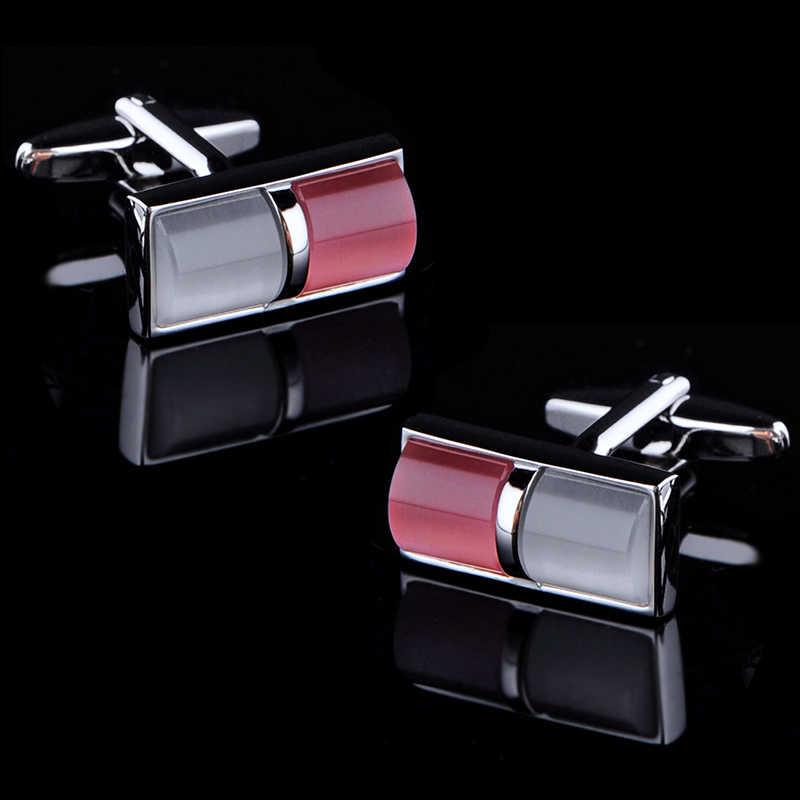 KFLK jóias 2018 wedding shirt abotoaduras para o presente dos homens Marca botões de punho Rosa abotoadura de Alta Qualidade abotoaduras Jóias
