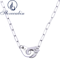 Wholesale Pure 925 Sterling Silver Handcuff Pendant Link Necklace For Women Silver Jewelry Accessories Vintage Memory
