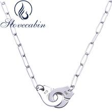 Slovecabin atacado puro 925 prata esterlina handcuff pingente colar para mulher esterlina prata jóias vintage colares