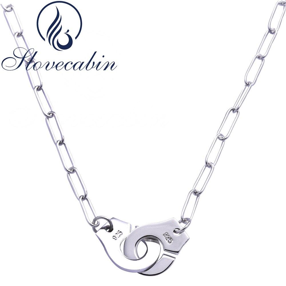 Slovecabin vente en gros pur 925 argent Sterling menottes pendentif collier pour les femmes Sterling-argent-bijoux Vintage colliers