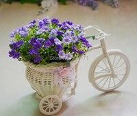 Ücretsiz Kargo sıcak satış düğün yapay ipek orkide çiçek + handworked rattan büyük tekerlek yuvarlak üç tekerlekli bisiklet çiçek vazo