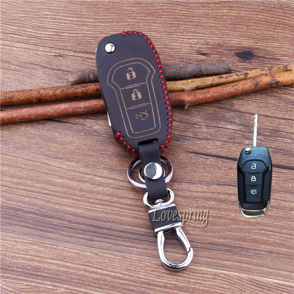 Hot sale 3 buttons leather car flip key cover case chain for ford mustang mondeo fusion