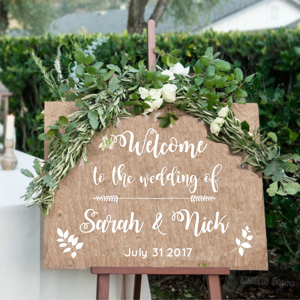 Wedding welcome vinyl sticker sign rural rustic style decals wood removable simple wedding decor personalized name date z291