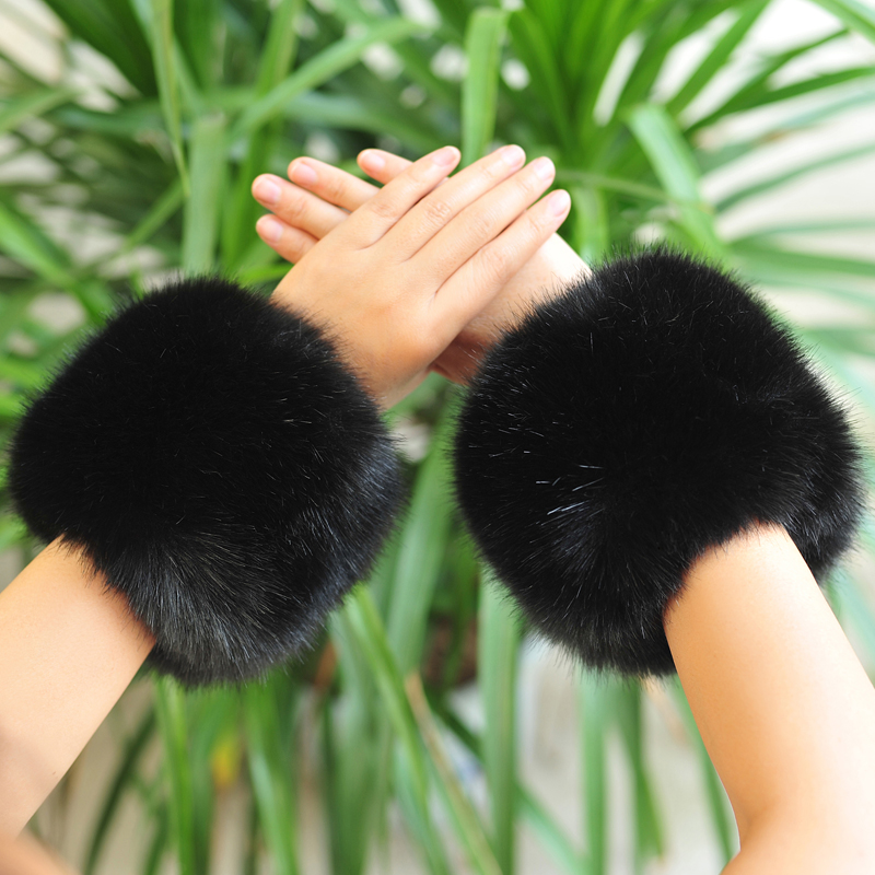 Fauxrabbit Fur Arm Warmers Faux Rabbit Fur Sleeve Decor Ring Winter Multicolor Pom Pom Fluffy Cute Cuffs Women Cute Accessories