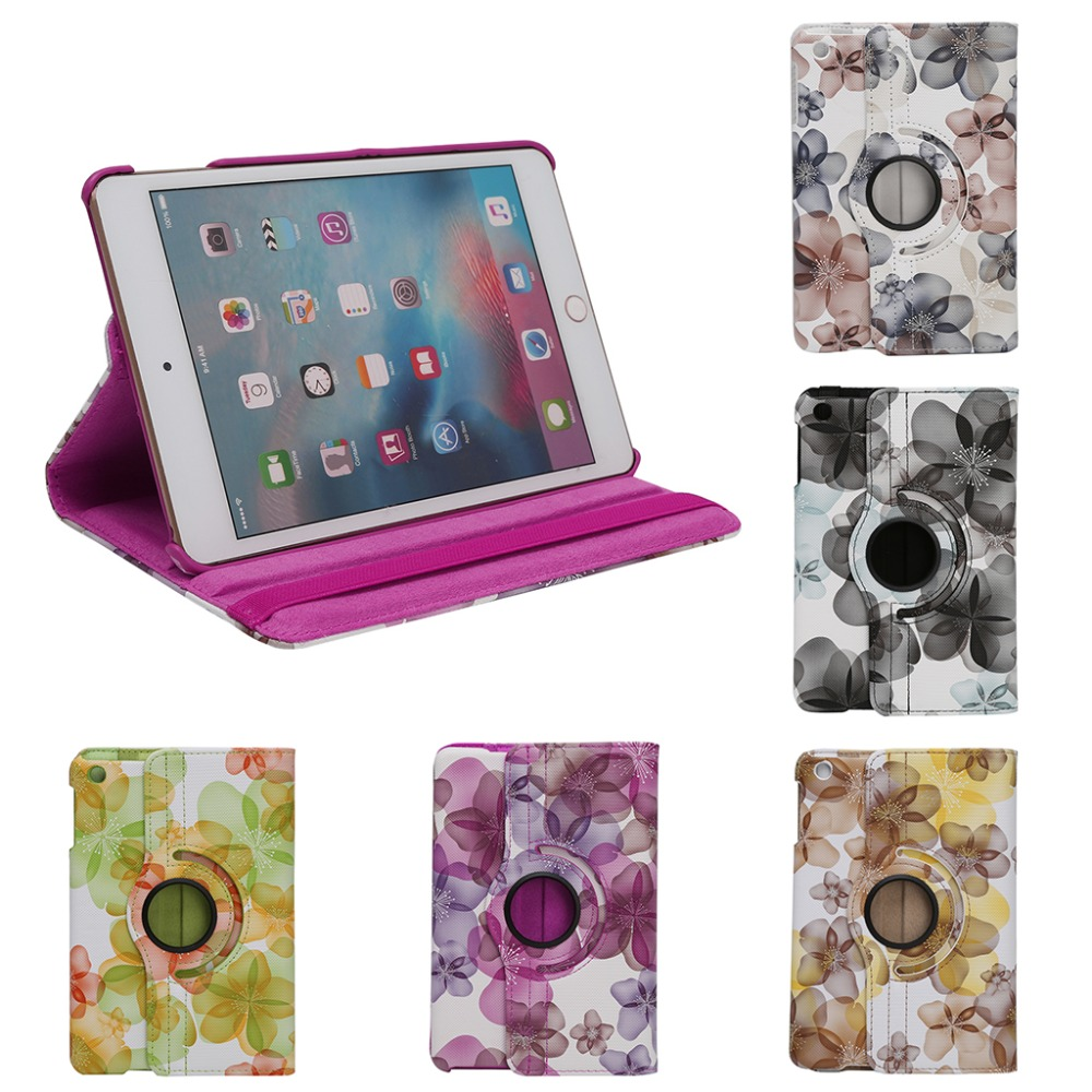 5-color 360 Rotation Faux Leather Flower Flip Stand Case Cover For Apple iPad Mini 1 2 3 New Arrival C26 new rotation 360 degree rotating leopard flip stand pu leather protective skin cover case for apple ipad mini 1 2 3 7 9 tablet