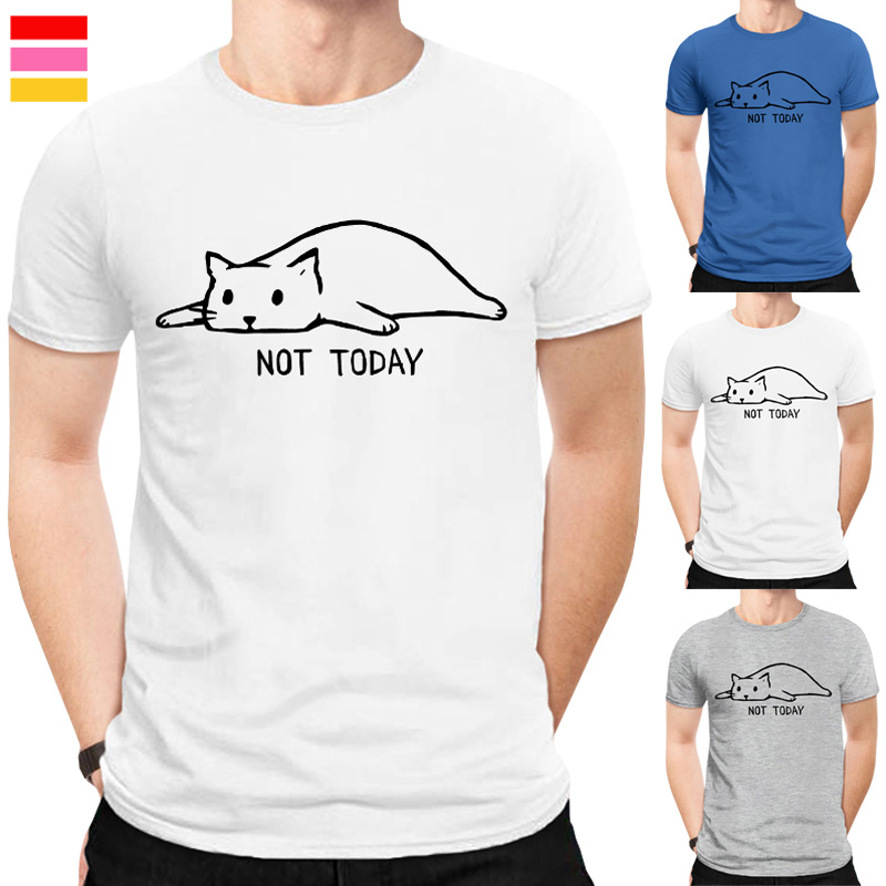 Fashion not today Men's T-Shirt Short Sleeve Round Neck Tops Hipster funny Lazy cat Printed T Shirts No Glue Print