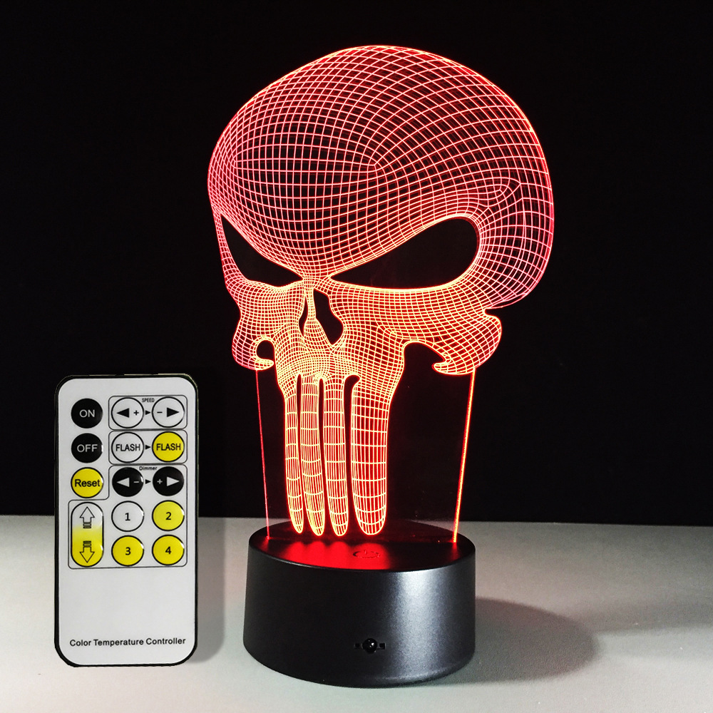3D 7 Color Night Ligh Changing Lamp Punisher Skull Multi-colored Bulbing Light Acrylic 3D Hologram Illusion Desk Lamp For Kids acrylic 7 color changing usb charge 3d
