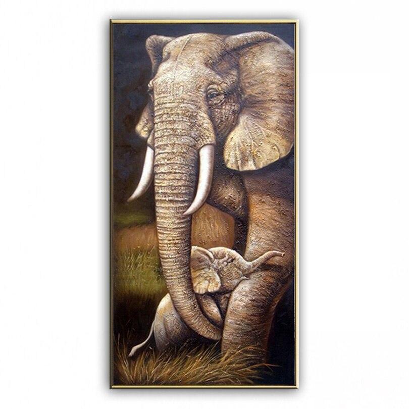 Картина маслом слон ручная роспись украшения дома картина известного высокого качества современных художников живопись 20180108