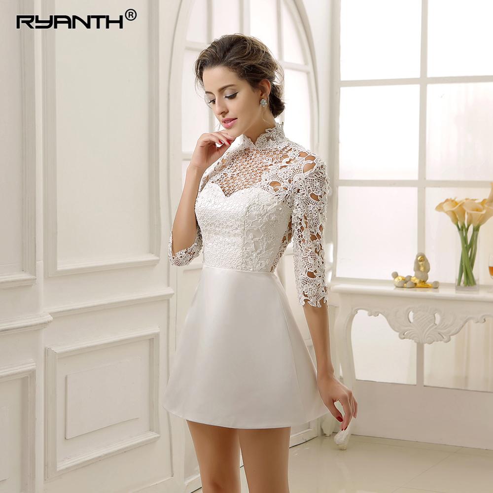 Vestido de noiva 2019 New Arrival High Neck Lace Stain Short Mini Wedding Dress For Party Custom Made 3/4 Long Sleeves Gowns-in Wedding Dresses from Weddings & Events    3