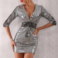 Seamyla New Summer Luxury Silver Sequin Dress Wome Sexy Mini Half Sleeve Bodycon Night Club Celebrity Party Dresses Vestidos