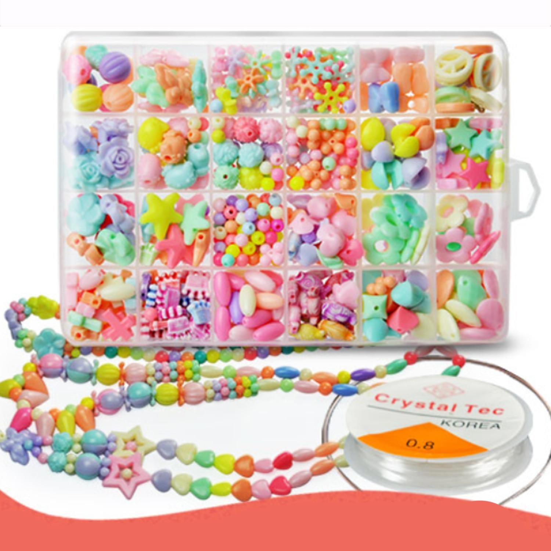 Enfants filles 24 grilles perles acryliques colorées bricolage enfilage filetage tissage Bracelet collier fabrication de bijoux accessoire perlé jouet