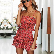 Cuerly Sexy strap printed ruffle short dress women two piece set Summer elegant party dress Casual beach daily strap dress  L5