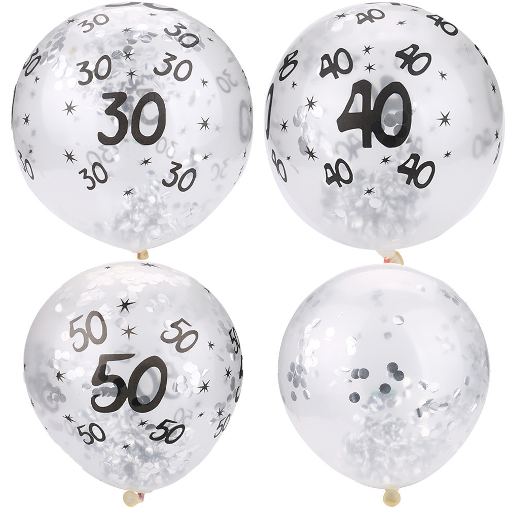 Us 1 52 25 Off 5pc Confetti Filled Balloons Clear 30 40 50th Birthday Balloon Birthday Party Diy Decorations Wedding Anniversary Party Supplies In