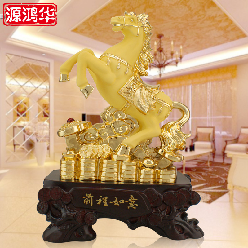 home decoration accessories Ruyi Golden Horse ornaments plating future customized resin crafts Home Furnishing jewelry ornaments