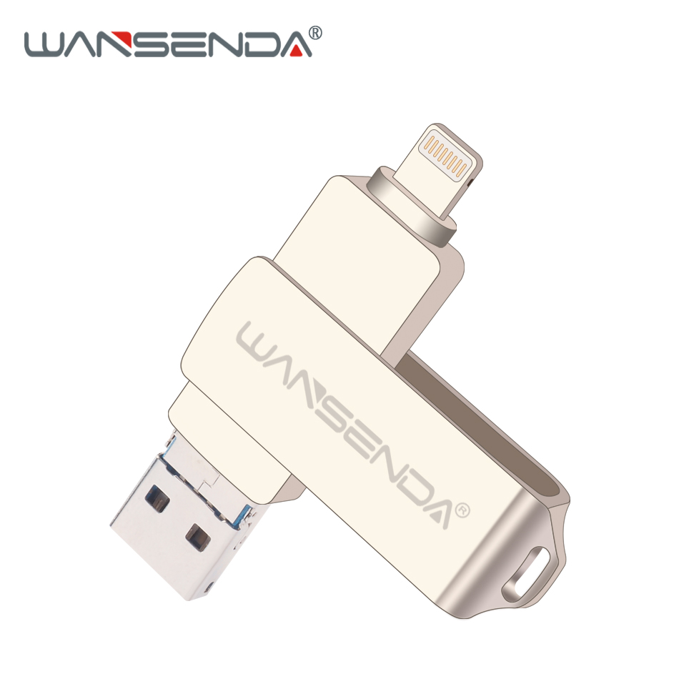Wansenda OTG USB флешка USB 3,0 для iPhone/iPad/IOS/Android/PC 64 ГБ 32 ГБ 16 Гб ГБ 8 ГБ флеш-накопитель 3 в 1 высокая скорость флешки