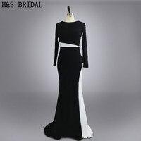 Real Photo Custom Made Vestidos Evening Prom Dress Designer Black And White Long Sleeves Evening Dresses