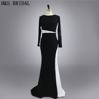 Real Photo Custom Made Vestidos Evening Prom Dress Designer Black And White Long Sleeves Evening Dresses