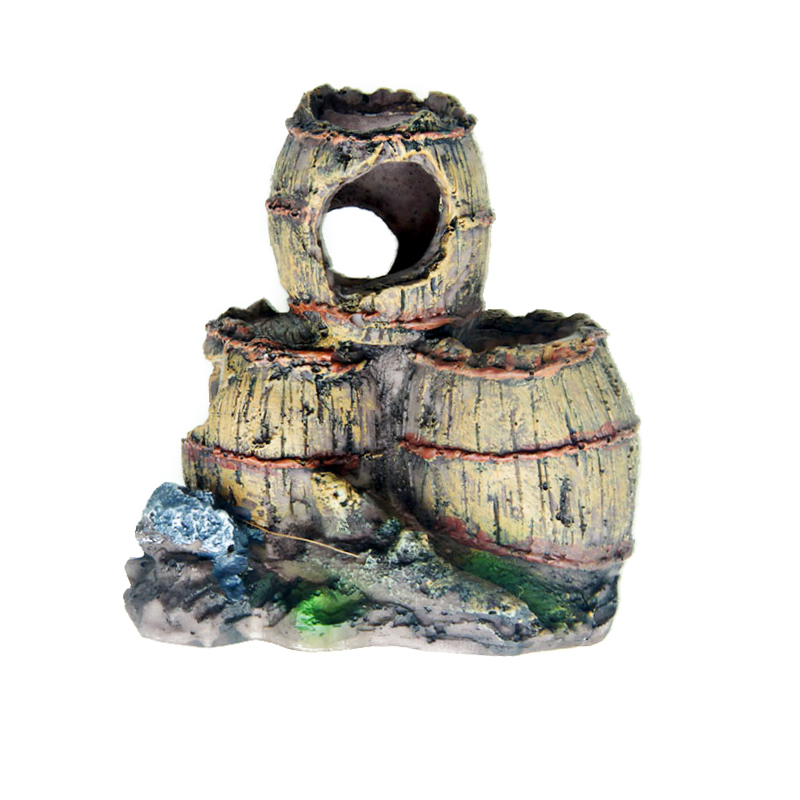 Imitation Bucket Moss Aquarium Decoration Broken Resin Buckets Artificial Three Barrel Fish Tank Fish House Shrimp Nest Cave
