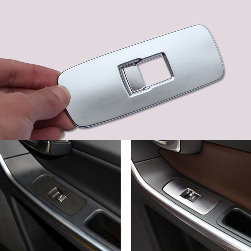 YAQUICKA Chrome ABS Car Door Window Lift Control Switch Knob Button <font><b>Frame</b></font> Trim Cover Sticker For <font><b>Volvo</b></font> XC60 <font><b>S60</b></font> S60l V60 Styling image