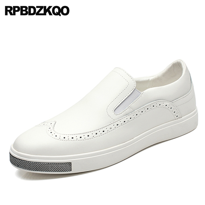 Brogue Skate Slip On White Loafers Comfort Casual Nice Flats 2017 Men Shoes Fashion Wingtip Stylish Hot Sale Spring Autumn vik max factory outlet white figure skate shoes two size left ice skate shoes cheap figure skate shoes