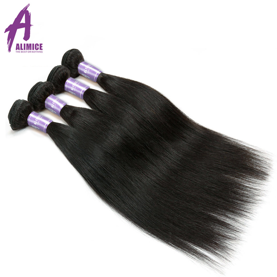 Indian Straight Hair 4 Bundles Deal Alimice Indian Human Hair Extensions NonRemy Natural Color Hair Bundles