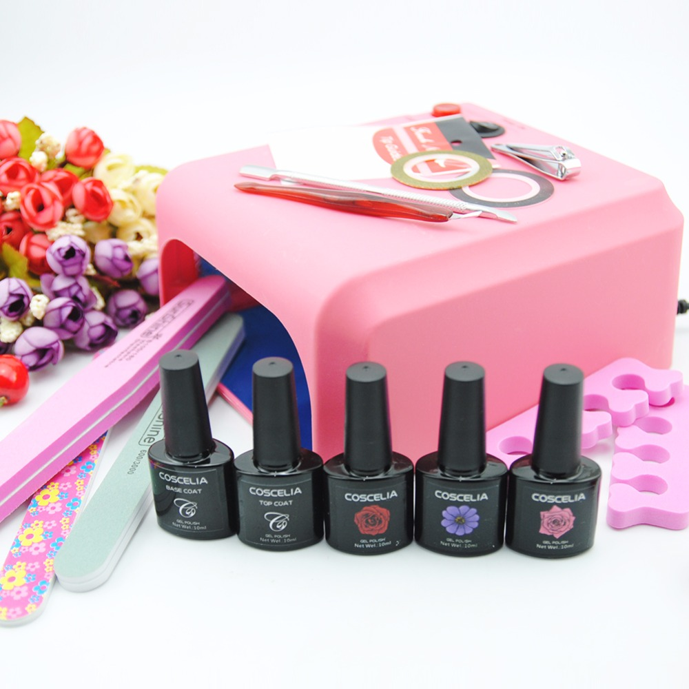 manicure set nail kit nail gel 36w lamp for nails 3 colors 10ml gel polish top coat and base. Black Bedroom Furniture Sets. Home Design Ideas