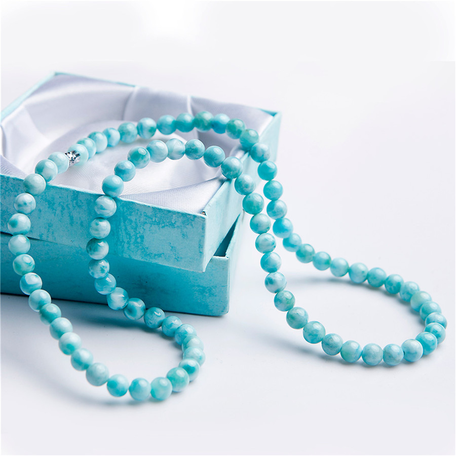 Genuine Natural Blue Larimar Gemstone Crystal Round Bead Necklace For Women Men Natural Stone Necklace 6mm