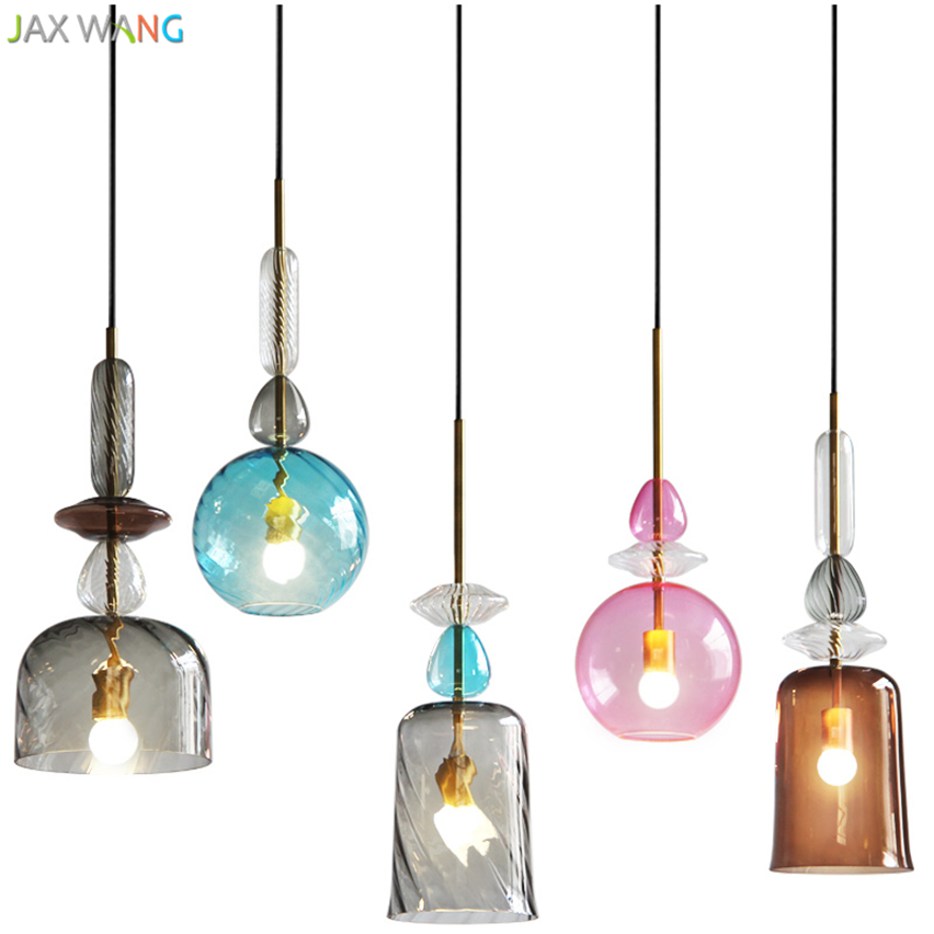 Simple Creative Color Glass Hang lamps pendant lights led ...
