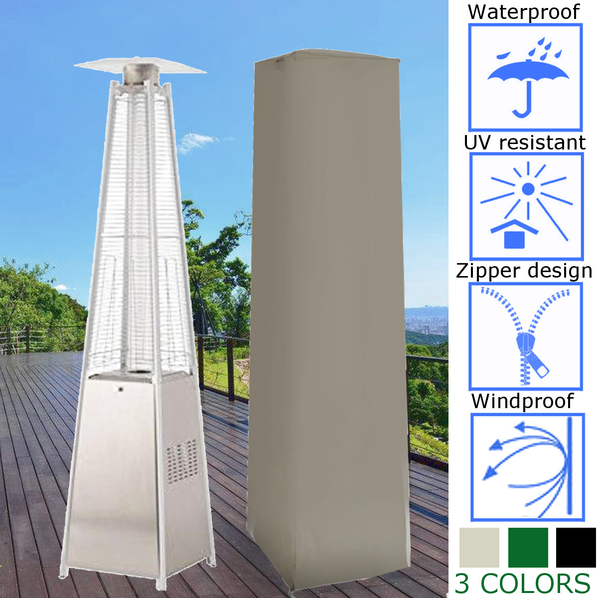 3 Color Outdoor Patio Pyramid Flame Heater Heavy Duty Cover Garden Machine Cover Waterproof Dustproof Cover