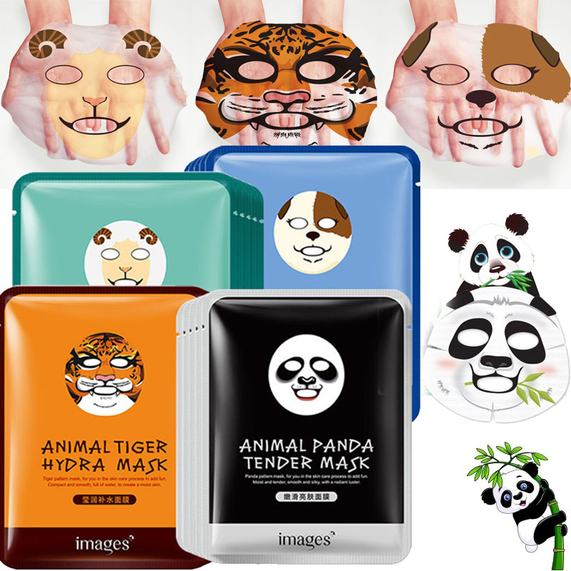 120pcs Animal Face Mask Deep Moisturizing Sheet Mask Oil Control Mask for Woman Panda Tiger BIOAQUA