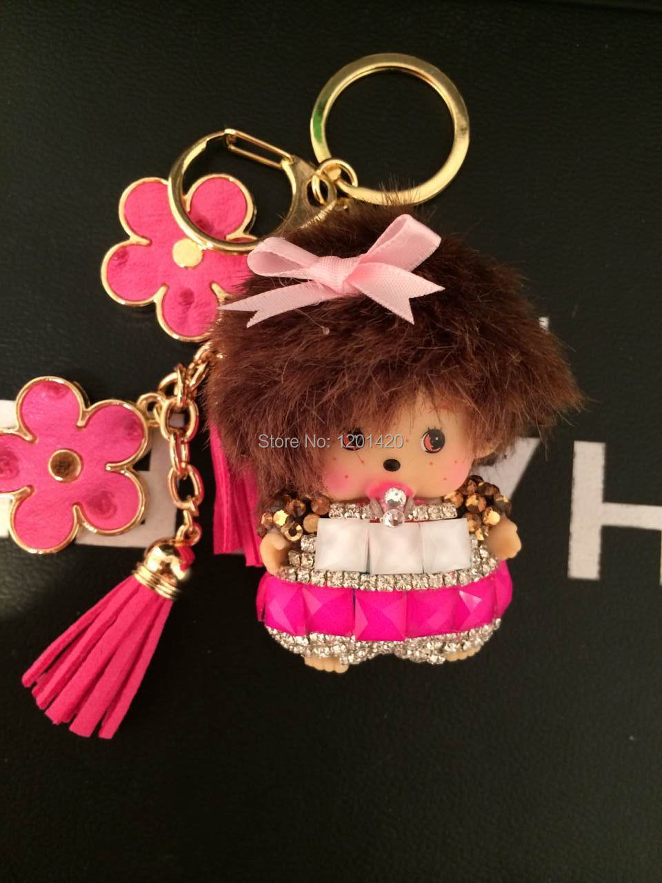 Uncategorized Monchichi Cartoon cartoon keychain monchichi promotion shop for promotional bling doll bag charms pink rhinestone monchhichi key chains flower bow ring tassel handmade keychains