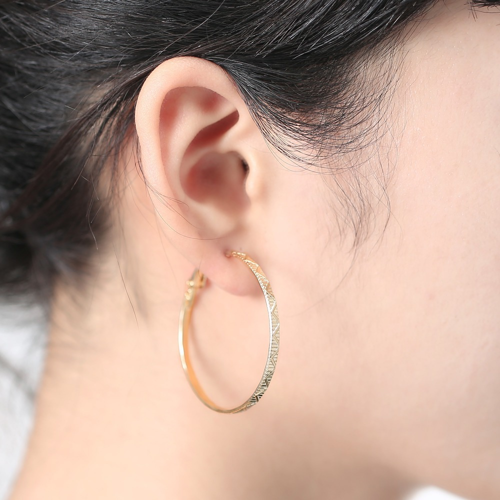 gold color Big Hoop Earrings Fashion Gold Wedding Hoop Earrings For Bridal Cheap large basketball wives Earrings For Women