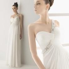 Hot Selling Custom Made A Line Wedding Gowns Vestido de Noiva Casamento Chiffon Beads One Shoulder Backless Robe De Mariage