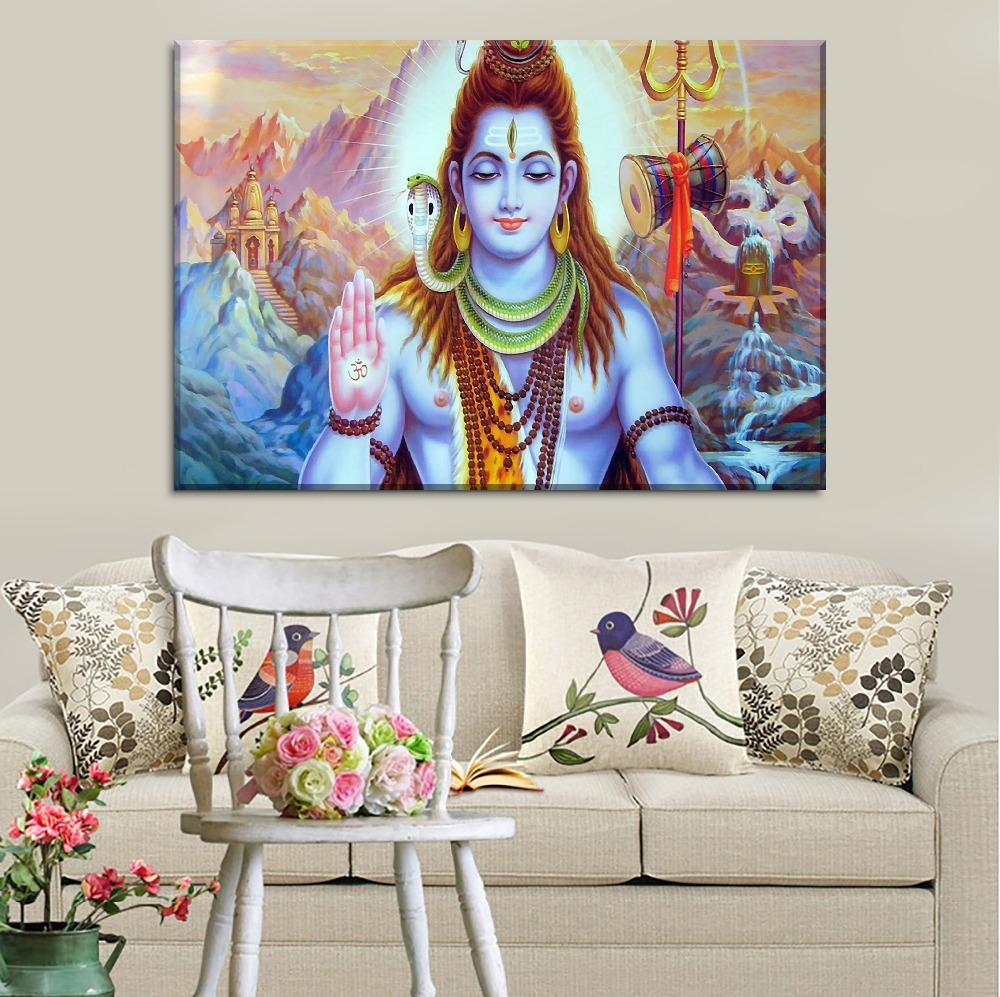 With Framed 1 Pieces Animated Lord Shiva Poster Modern Home Decorative Wall Artwork Canvas Printing Type Style Modular Pictures Painting Calligraphy Aliexpress