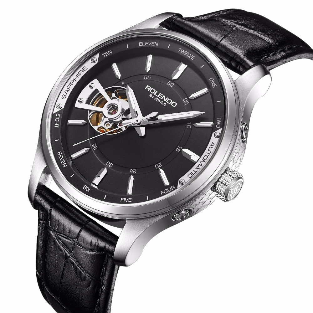 Rolend 2018 Top Brand Luxury Hot Sale Automatic Mens Watch Skeleton Steel Case Leather Waterproof Man Mechanical Watches
