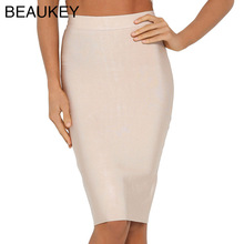 BEAUKEY Nude Simple Solid 2016 Rayon Knitted Bandage Knee Length Pencil Skirt