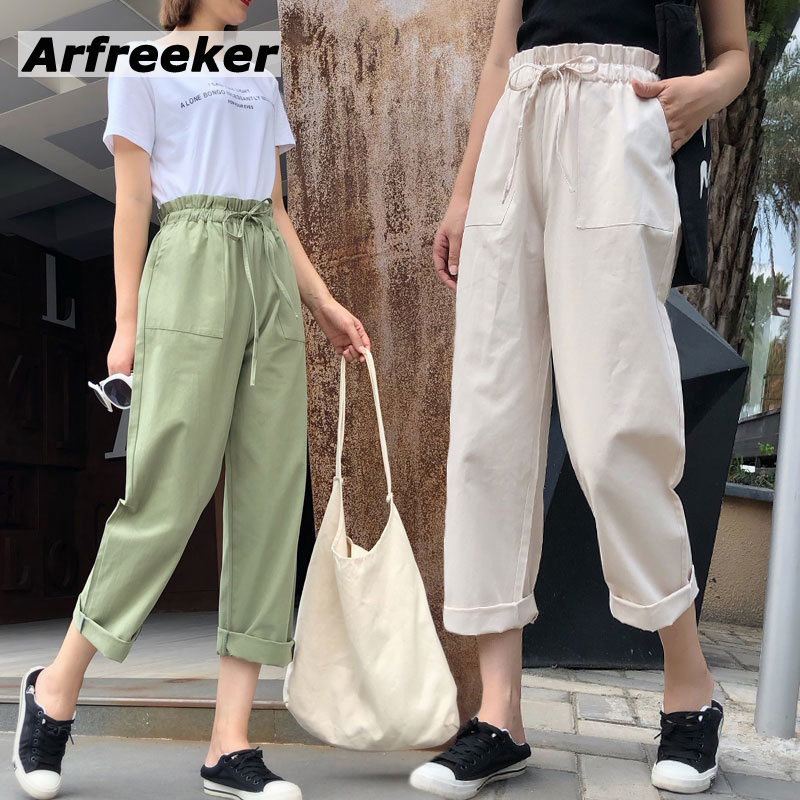 Arfreeker Women Elegant Solid   Wide     Leg     Pants   Pockets Design Fashion Female Casual Chic Ankle Length Trousers Plus Drop Shipping