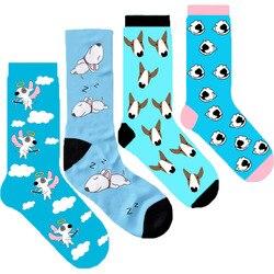 Calcetines originales para mujer bull terrier crew, calcetines bonitos, nuevos calcetines con Ángel, perro durmiendo, regalo gráfico para amante de los cachorros, 10/50 pares/lote