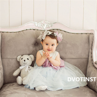 Dvotinst Baby Girls Photography Props Mesh Flora Dresses+Headband Set for 6 12M Fotografia Wedding Party Studio Shoot Photo Prop