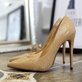 four season women shoes Snake embossed leather high heels pumps slip-on pointed toe thin heels shoes women wedding shoes