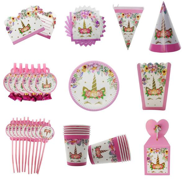 Unicorn Party Gift Bags 1st Birthday Paper Popcorn Box Cookies Decorations Kids Baby Shower Supplies