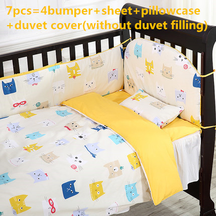 Promotion! 6/7PCS Unisex 100% cotton baby bedding crib set ,Duvet Cover,120*60 120*70 for baby cute pattern, all over pattern duvet cover set