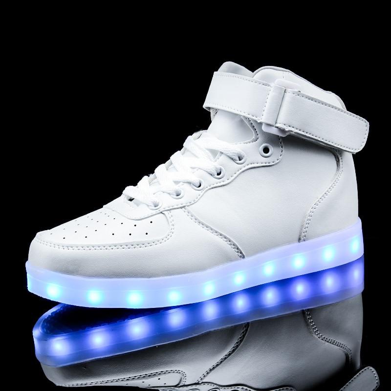 USB երեխաների բարձր կոշիկներ 7 գունավոր LED լույսեր Տղաներ և աղջիկներ վերալիցքավորվող լյումինեսցենտ լուսավոր սպորտային կոշիկներ