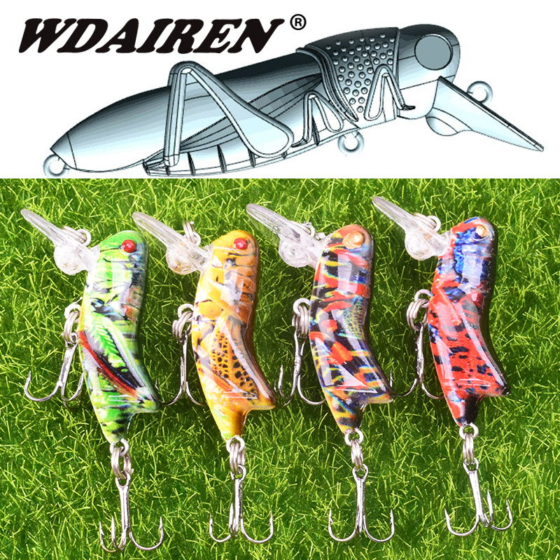 1Pcs 45mm 3.5g Grasshopper Insects Fishing Lures Flying Wobbler Lure Hard Bait Lifelike Artificial Baits Bass Pesca Swimbait